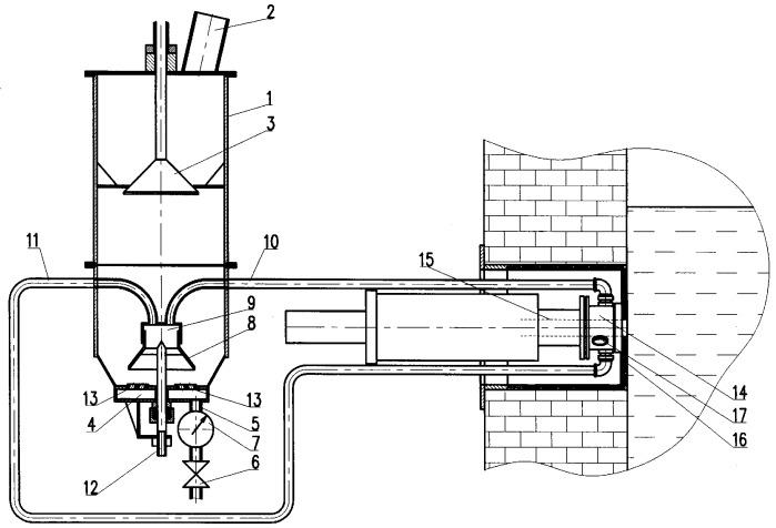 Устройство непрерывной транспортировки мелкозернистого или пылевидного твердого материала