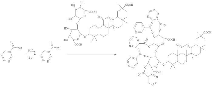 Способ получения пентаникотината глицирризиновой кислоты, являющегося ингибитором репродукции вируса иммунодефицита человека