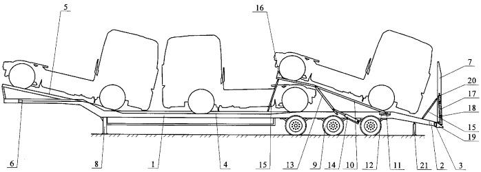 Транспортное средство для перевозки грузовых автомобилей и самоходной техники