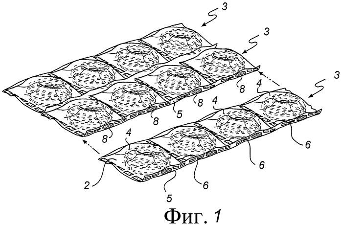 Тонкий матрац с пружинами в чехлах и способ и устройство для его изготовления