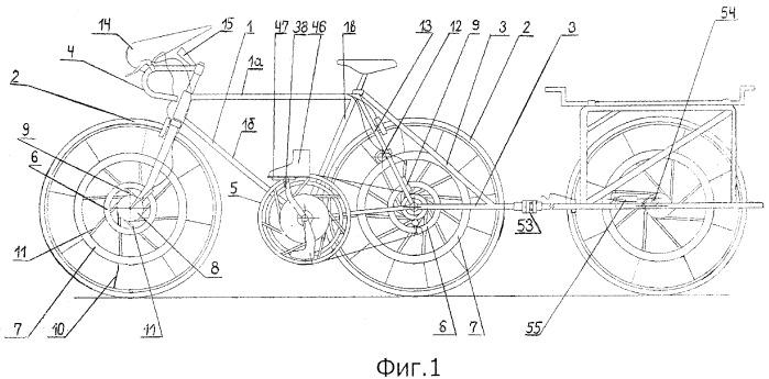 Велосипед (варианты), колесо велосипеда, привод велосипеда, рычажный механизм велосипеда, педальный механизм велосипеда и комплект, содержащий велосипед и прицеп