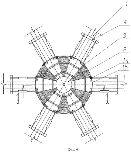 Узловое соединение деревянных и клеедеревянных стержневых элементов пологих сетчатых куполов