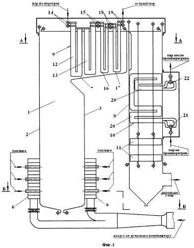 Steam boiler with sectionalised live steam superheater and automatic ...