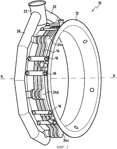 Устройство для регулирования радиальных зазоров в газовой турбине с балансировкой воздушных потоков