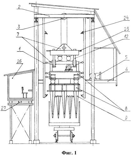 Стационарное виброрыхлительное устройство для разрушения мерзлых и слежавшихся материалов в полувагонах