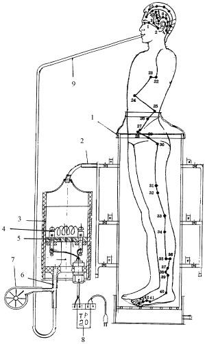 Устройство для подачи микроэлементов в виде камеры, герметично надетой на часть тела от ног до пояса человека