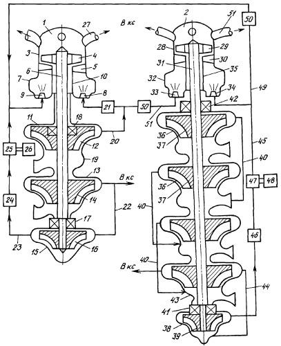 Система турбонасосной подачи трехкомпонентного топлива ракетного двигателя