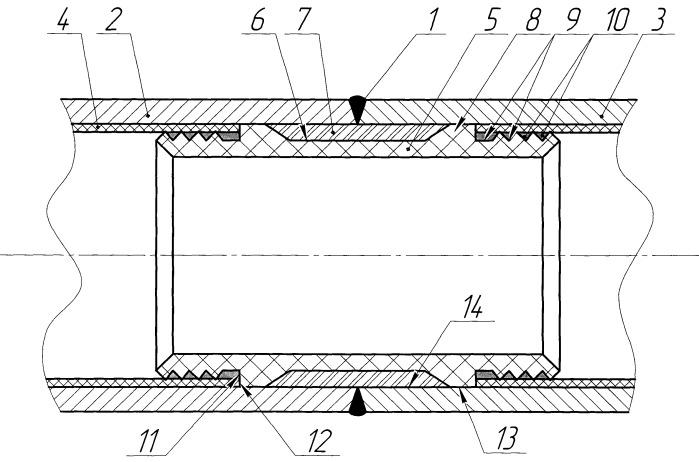 Неразъемное соединение труб с внутренним антикоррозионным покрытием