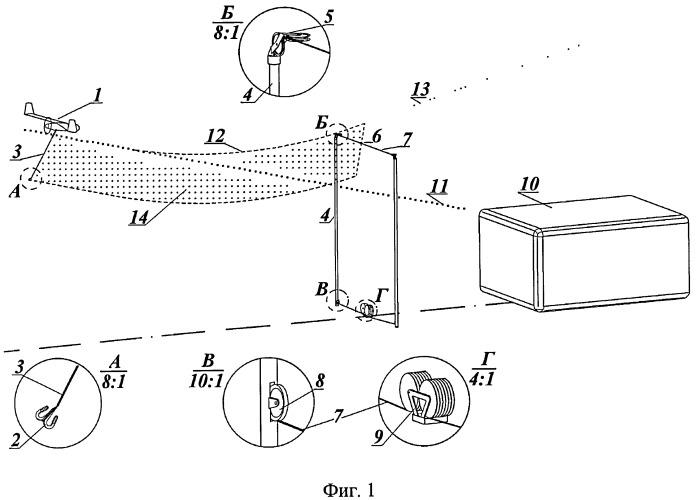 Способ посадки беспилотного самолета на аэрофинишер