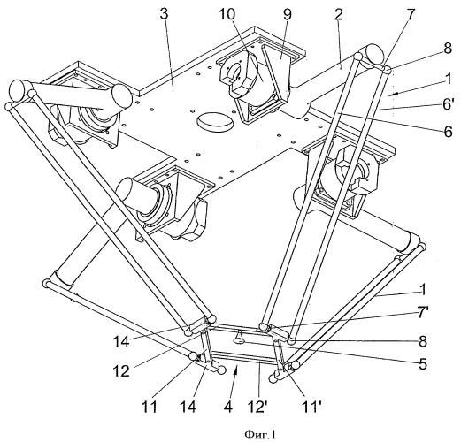 Высокоскоростной робот параллельной кинематики с четырьмя степенями подвижности