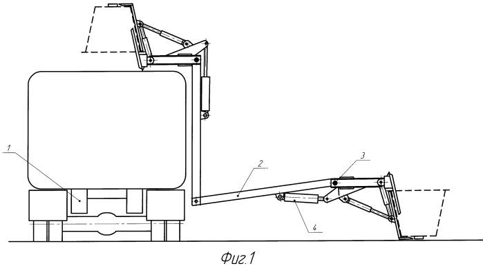 Захват устройства для разгрузки контейнеров в кузов мусоровоза