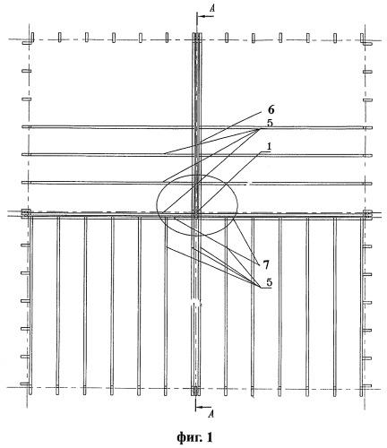 Узел межэтажного соединения элементов пространственного каркаса здания из трех модулей
