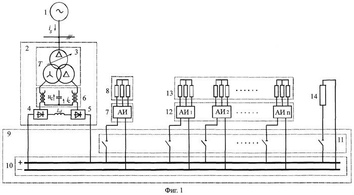 Компенсированная система электроснабжения разночастотных потребителей электрической энергии