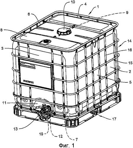 Заборная арматура с корпусом арматуры из синтетического материала для контейнера для транспортировки и хранения жидкостей