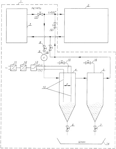 Способ очистки воды обогревательной системы от накипи