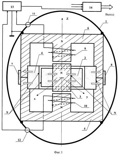 Электромагнитный датчик ускорения