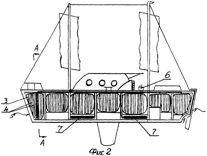 Судно с устройством обеспечения его плавучести и непотопляемости при аварии