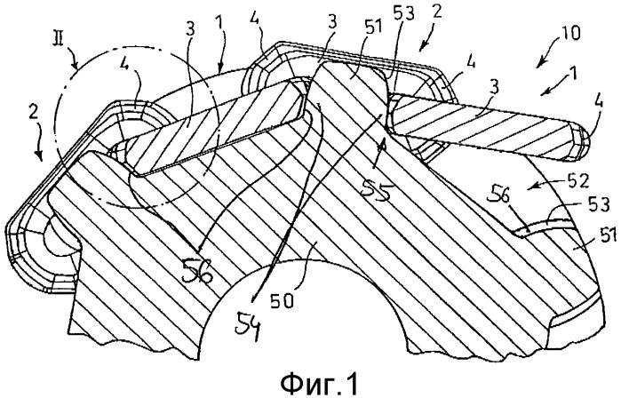 Устройство цепного привода или поворотное устройство, а также используемая при этом цепная лента и цепное колесо