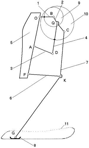 Рычажный прямолинейно направляющий механизм ноги транспортного средства