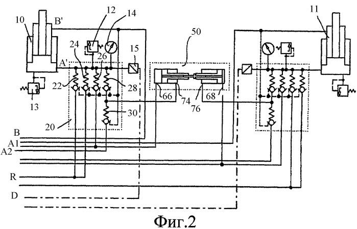 Схема расположения клапанов, а также комбинация из двух стоек крепи и насосного цилиндра для такой схемы
