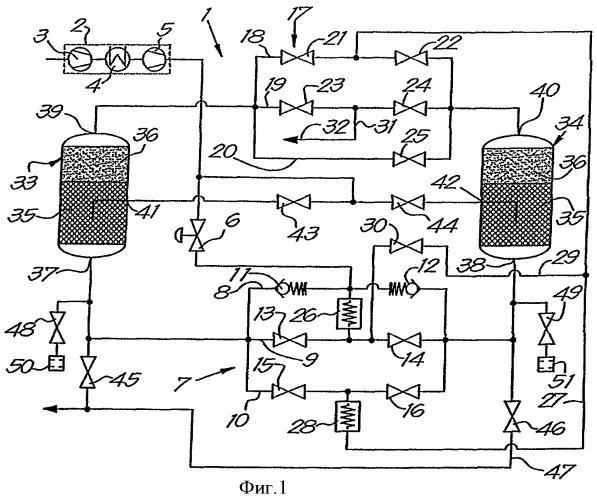 Установка для осушки сжатого газа и способ, осуществляемый с помощью этой установки