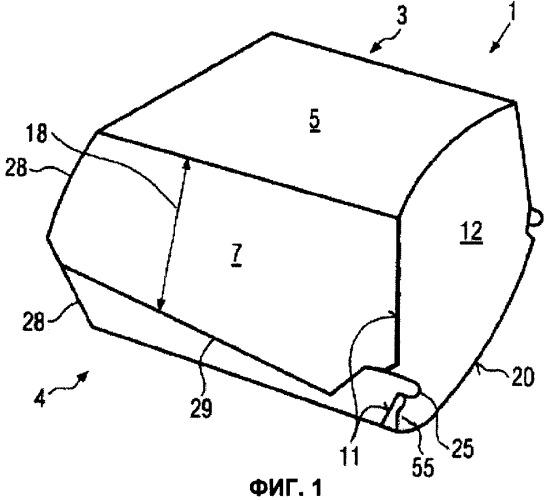 Контейнер в форме коробки и заготовка для него