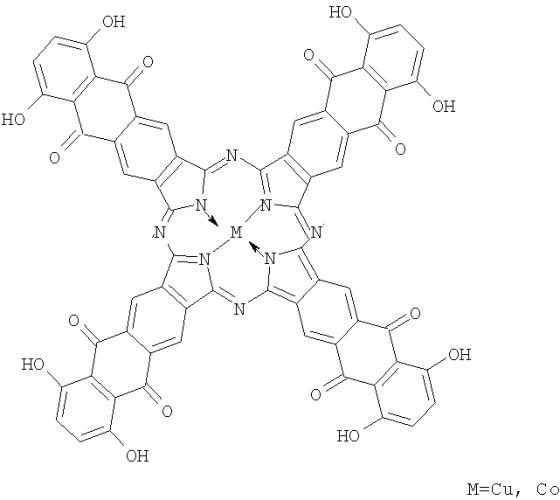 Тетра-(5-ацетиламино-7-гидрокси)-антрахинонопорфиразины меди и кобальта