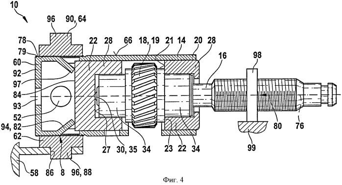 Редукторный привод с креплением приводного элемента на опорах без осевого люфта, прежде всего для перемещения подвижной детали в автомобиле