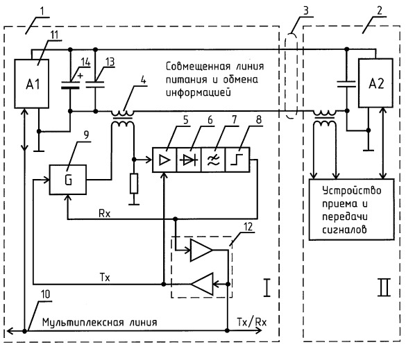 Устройство для приема и передачи информации по линии питания постоянного тока