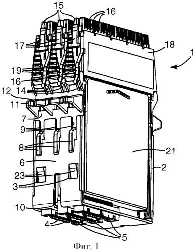 Телекоммуникационный блок с оконечными соединительными модулями и кожухами для направленного размещения проводов