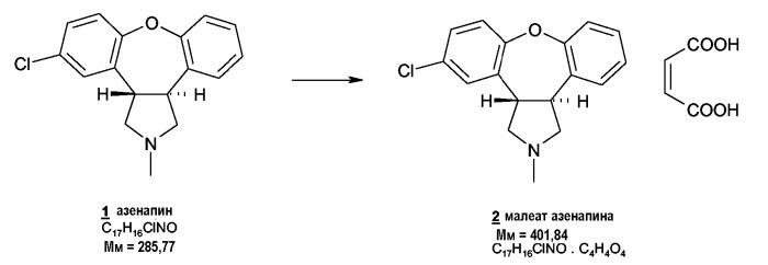 Кристаллическая форма малеата азенапина