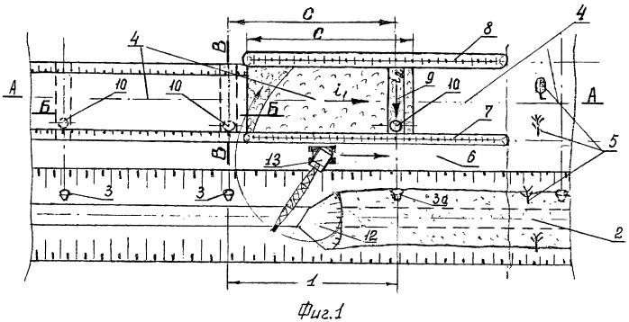 Способ очистки осушительного канала на участках с впадающими закрытыми дренами