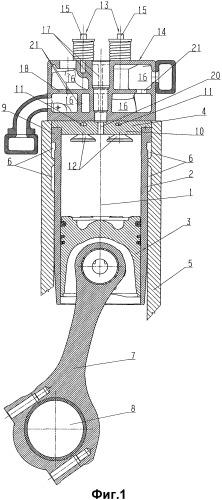 Дизельный двигатель внутреннего сгорания с камерами сгорания для высоких давлений воспламенения