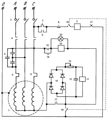 Устройство управления работой трехфазного асинхронного двигателя