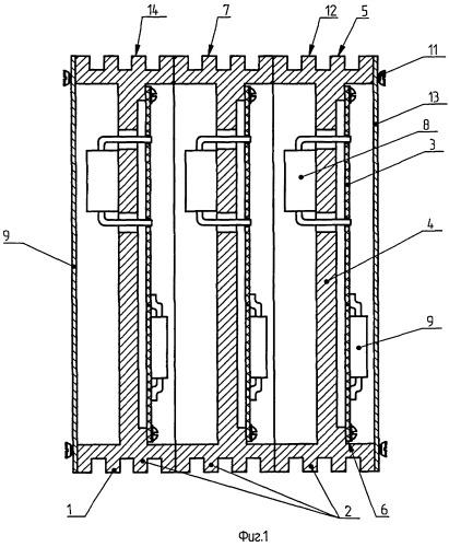 Электронный блок с теплоотводом и экранированием