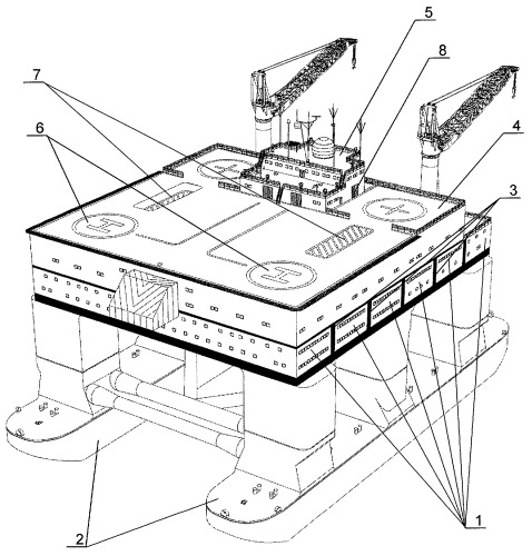 Способ обеспечения вертолетного сообщения с объектами разработки месторождений полезных ископаемых на континентальном шельфе и морской вертодром для его осуществления