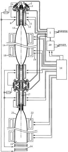 Пульсирующий реактивный двигатель в режиме детонационного сгорания топлива с дополнительным ускорением газовых объемных зарядов силой электромагнитной индукции