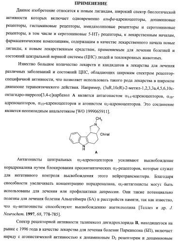 Лиганды альфа-адреноцепторов, допаминовых, гистаминовых, имидазолиновых и серотониновых рецепторов и их применение