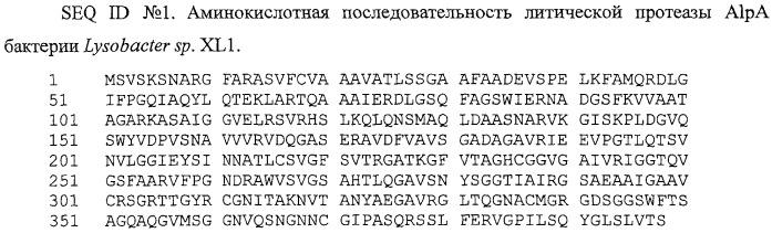Литическая протеаза alpa бактерии lysobacter sp. xl1, фрагмент днк, кодирующий литическую протеазу alpa бактерии lysobacter sp. xl1, и способ получения литической протеазы alpa бактерии lysobacter sp. xl1