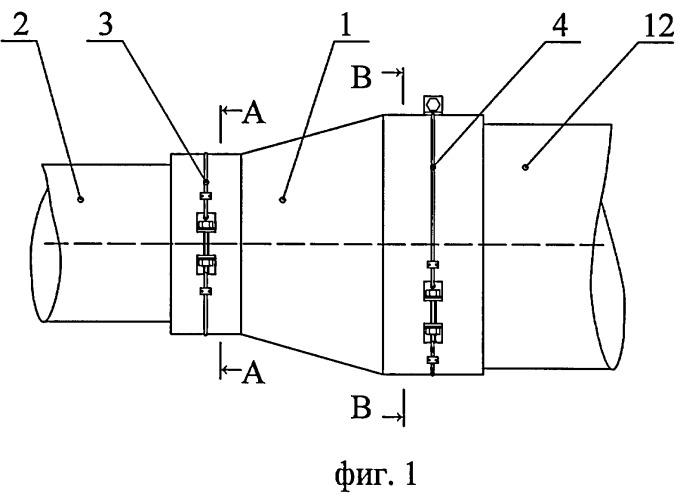Хомут-стяжка для крепления резиновой манжеты на трубопроводе перехода