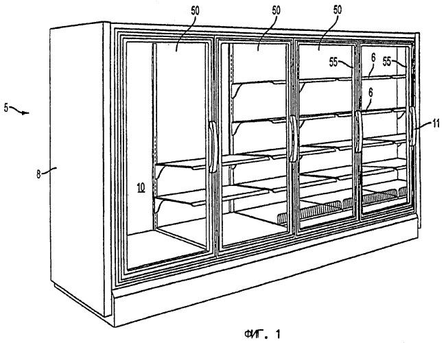 Антизапотевающая дверца холодильной установки и способ ее изготовления