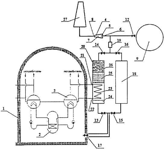 Устройство для очистки аварийного сброса радиоактивной парогазовой смеси из защитной оболочки аэс