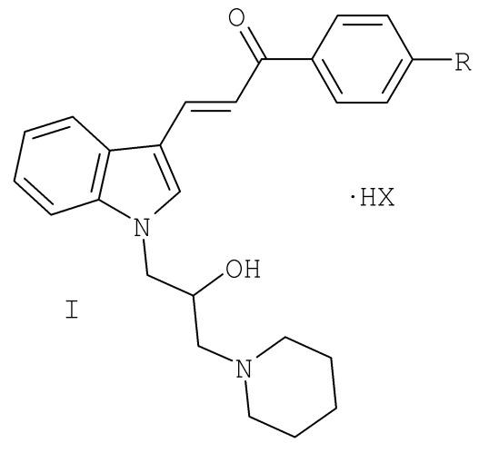 Гидрогалогениды 3-[1-(2-гидрокси-3-пиперидин-1-ил-пропил)-1н-индол-3-ил]-1-фенил-пропенона, обладающие местноанестезирующей и антиаритмической активностью