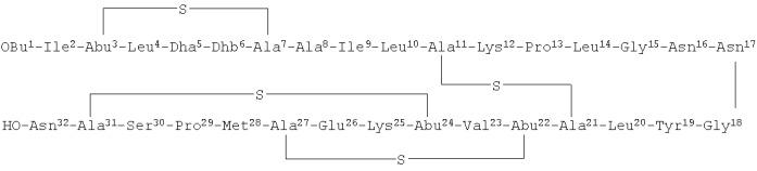 Пептид lana1, выделенный из бактерии bacillus licheniformis vk21, обладающий антимикробным действием
