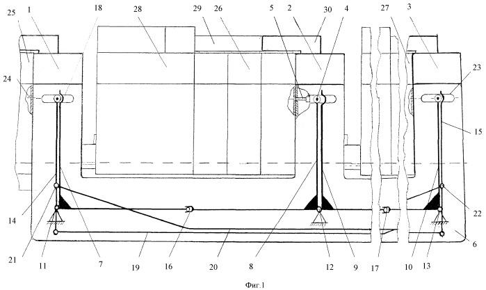Устройство механической блокировки трех автоматических выключателей с электроприводом