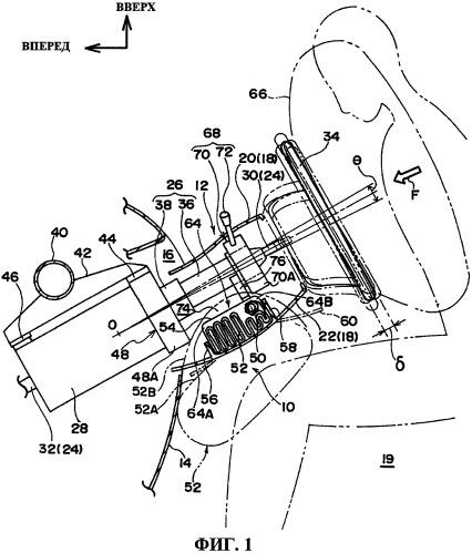 Устройство с подушкой безопасности для защиты коленей, установленное на рулевой колонке