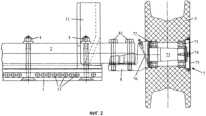 Подшипниковый узел транспортной установки для транспортировки грузов с помощью конвейерной ленты