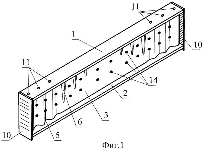 Балка композиционной структуры с гофрированными элементами