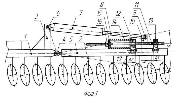 Механизм управления заглублением в почву рабочих органов боковых шарнирных секций копирующих почвообрабатывающих машин