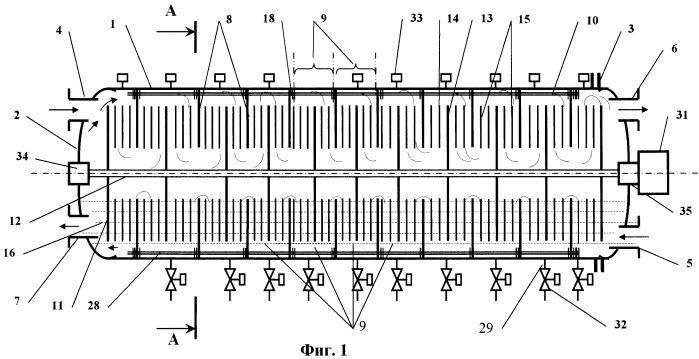 Горизонтальный дисковый тепло- и массообменный аппарат